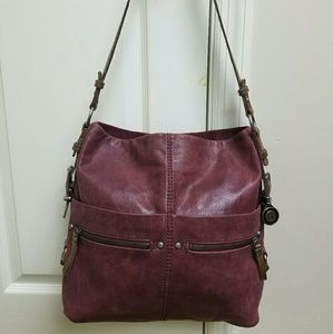 THE SAK SANIBEL Burgundy Leather Bucket Bag